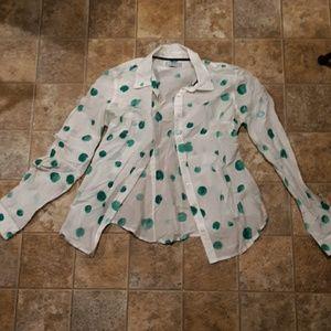 jcp silk blend long sleeve button down shirt. Med